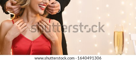 Unrecognizable Woman Getting Golden Necklace From Her Boyfriend For Valentine's Day During Romantic Dinner In Restaurant, Panorama With Free Space Сток-фото ©