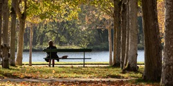 Unrecognizable woman sitting on a wooden bench. Sunny day in a French garden. Beauty of autumn in France. A green bench under an avenue of lime trees. Tranquility at the water's edge.