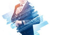 Unrecognizable young businessman looking at his wristwatch with double exposure of abstract city. Concept of time management and planning. Toned image mock up
