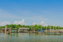 Unseen in Thailand. Scenery of Fishing village (The No-Land Village) at Bang Chan, Khlung, Chanthaburi, Thailand.