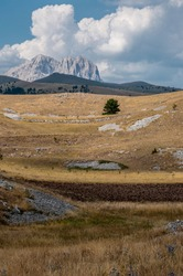 unspoiled landscapes along the road to reach Campo Imperatore in Abruzzo.