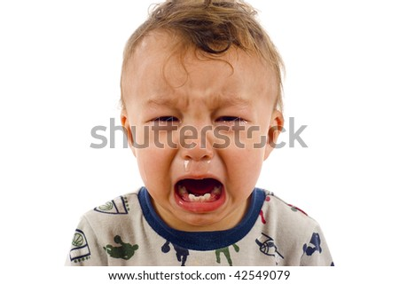 Unstoppable Crying Baby Boy - Isolated over a white background