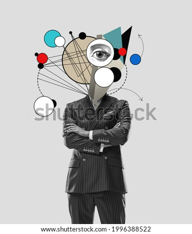 Unstoppable new ideas in head. Modern design, contemporary art collage. Inspiration, idea concept, trendy urban magazine style. Negative space to insert your text or ad.
