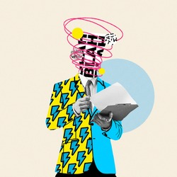 Unstoppable talks in head. Comics styled yellow suit. Modern design, contemporary art collage. Inspiration, idea concept, trendy urban magazine style. Negative space to insert your text or ad.
