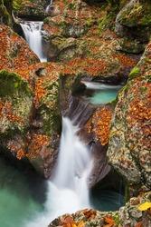 untain gorges of river Lepenca, Soča valley, autumn colors, The Šunik water grove, Bovec, Slovenia, Soca valley, Triglav national park, Europe