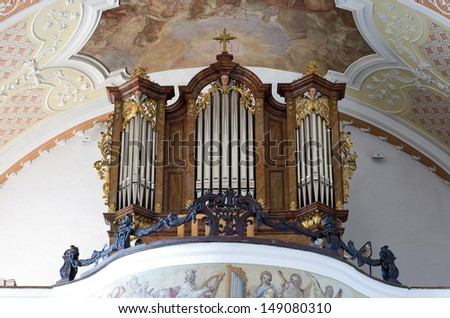 UNTER GRIESBACH, GERMANY-JUL 16: The organ of the catholic church in the small city of Unter Griesbach in Southern Germany. July 16, 2013 in Unter Griesbach.