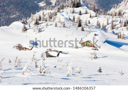 Untersberg Summit.  Looking from the summit of Untersberg mountain in Austria towards chalets below.  The mountain straddles the border between Germany and Austria. #1486106357