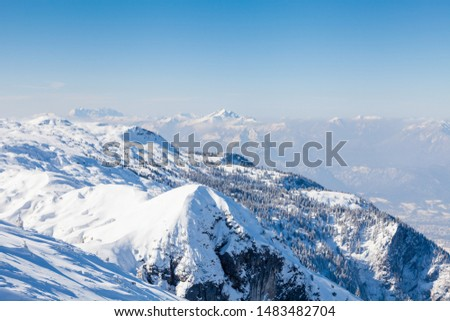 Untersberg Summit.  The view from the summit of Untersberg mountain in Austria.  The mountain straddles the border between Germany and Austria. #1483482704