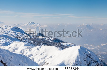 Untersberg Summit.  The view from the summit of Untersberg mountain in Austria.  The mountain straddles the border between Germany and Austria. #1485282344
