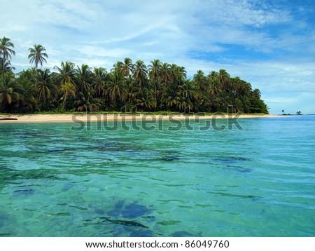 Untouched Caribbean beach in Zapatillas cays, Bastimentos marine park, Bocas del Toro, Panama