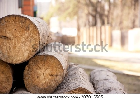 Untreated wood - logs of pine trunks stacked near the fence