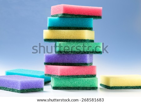 Unused colorful sponges for washing dishes or anything