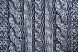 Unusual Abstract blue knitted pattern background texture