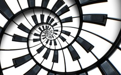 Unusual abstract piano keyboard spiral background fractal like endless staircase. Black and white piano keys  screwed into round spiral repetitive pattern. Music concept distorted circle backdrop..