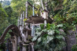 Unusual architecture and green forest. San Luis Potosi, Mexico. Surrealistic garden of Edward James.