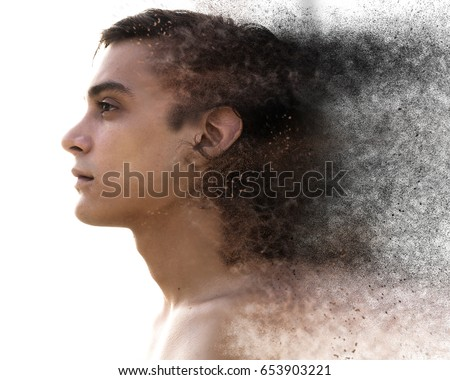 Stock Photo Unusual artistic effect of a man's existence fading away