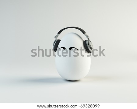 Unusual cartoon egg in headphones
