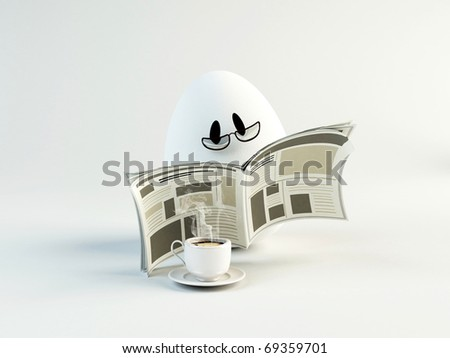 Unusual cartoon egg reading newspaper