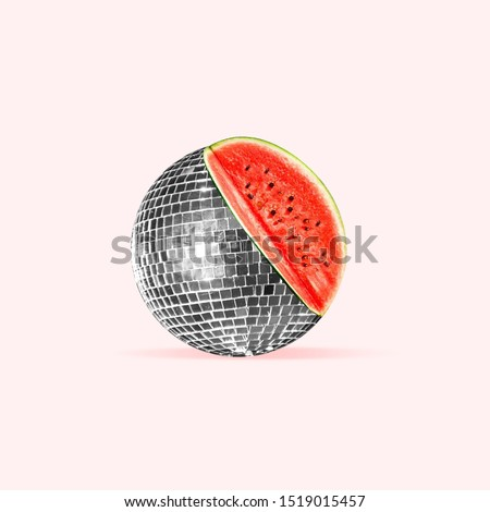 Unusual combination of usual things. Disco ball as an watermelon on trendy coral background. Negative space. Modern design. Copyspace. Contemporary art. Creative conceptual and colorful collage.