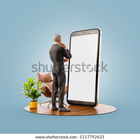 Unusual 3d illustration of a businessman in black suit standing at big smartphone and using smart phone application. Smartphone apps concept.