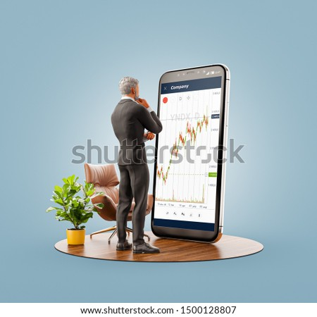 Unusual 3d illustration of a businessman standing in front of smartphone with Stock market graph. Finance and investment Smartphone apps concept.