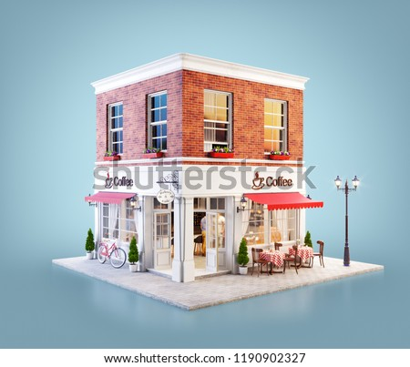Unusual 3d illustration of a cozy cafe, coffee shop or coffeehouse building with red awning and outdoor tables
