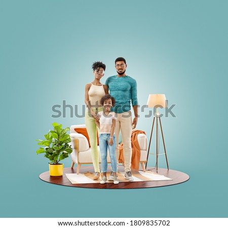Unusual 3d illustration of a Happy african american family enjoying a new home. Happy family concept. Сток-фото ©
