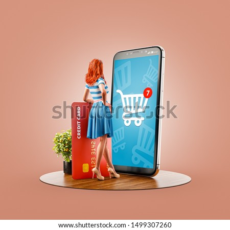 Unusual 3d illustration of a Happy woman with credit card doing online shopping using smartphone with shopping cart on screen. Smartphone apps concept. Consumerism and shopping.