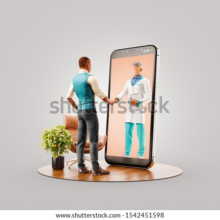 Unusual 3d illustration of a man standing in front of smartphone screen shaking hands with his doctor. Health care Smartphone apps. Online medical consultation and support concept.