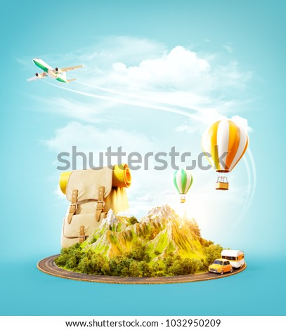 Unusual 3d illustration of a mount with the road around and air balloons above. Travel and vacation concept.