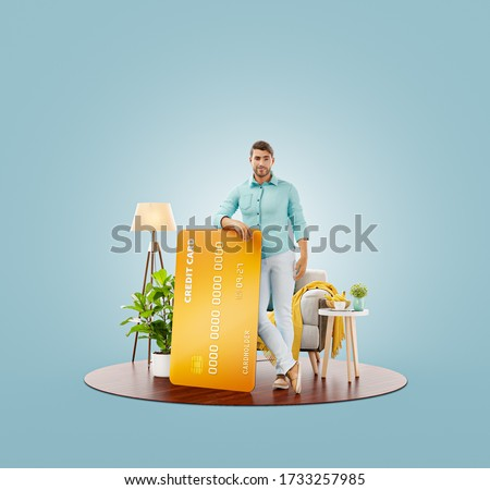 Unusual 3d illustration of a smiling young man with credit card at his home. Payment online concept.
