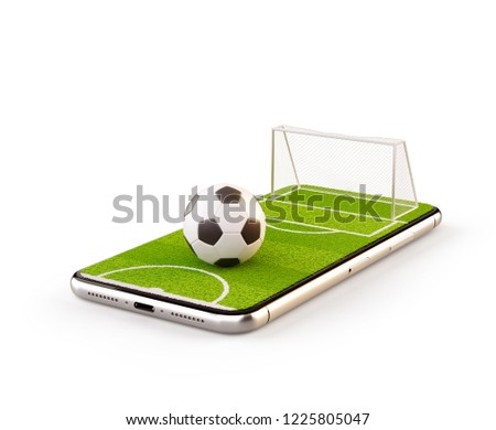 Unusual 3d illustration of a soccer field and soccer ball on a smartphone screen. Watching soccer and betting online concept. Isolated