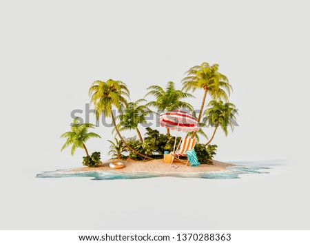 Unusual 3d illustration of a tropical island. Deck chair under umbrella on a beautiful beach. Travel and vacation concept.