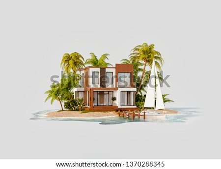 Unusual 3d illustration of a tropical island. Luxury exotical villa and yacht by pier. Modern architecture. Travel and vacation concept.
