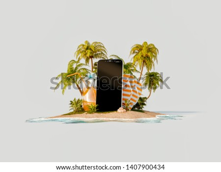 Unusual 3d illustration of a tropical island. Smartphone with blank screen on the beach. Smartphone application. Travel and vacation concept.