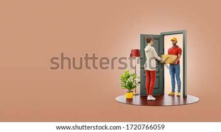 Unusual 3d illustration of a woman receiving parcel from delivery service courier at the door. Delivery and post concept.