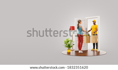 Unusual 3d illustration of a woman receiving shopping bags with fresh food from courier at the door. Food delivery service. Online shopping