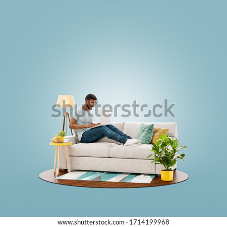 Unusual 3d illustration of a young businessman working on laptop computer sitting on a couch at his home office. Studying, freelance and home office concept