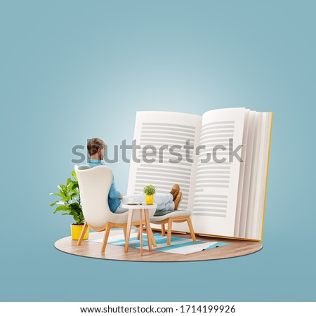 Unusual 3d illustration of a young man reads a book sitting on an armchair at home. Reading and education concept