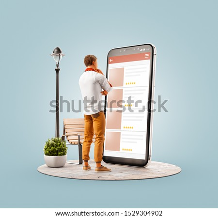 Unusual 3d illustration of a young man standing in front of big smartphone and browsing websites using applications. Smartphone apps concept. Choosing any items.