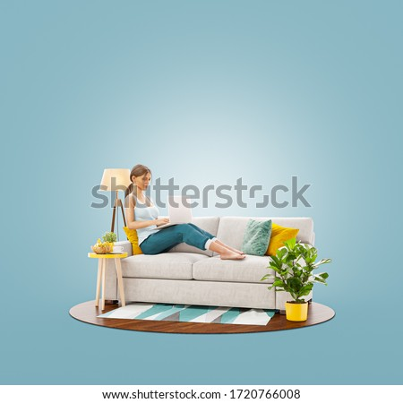 Unusual 3d illustration of a young pretty female working on laptop computer sitting on a couch at her home office. Studying, freelance and home office concept