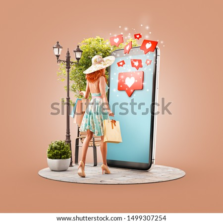 Unusual 3d illustration of a young pretty woman with shopping bags in front of smartphone with a lot of like symbols on the screen. Social media and social network apps concept.