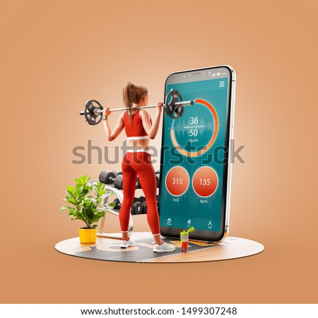 Unusual 3d illustration of a young woman in gym doing squats with barbell in front of smartphone and using smart phone for exercises. Smartphone sports and gum apps concept.