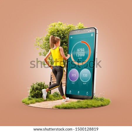 Unusual 3d illustration of a young woman in sportswear running in park in front of smartphone and using smart phone for exercises. Smartphone sports and gum apps concept.