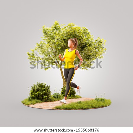 Unusual 3d illustration of a young woman jogging in a park. Jogging and running concept.