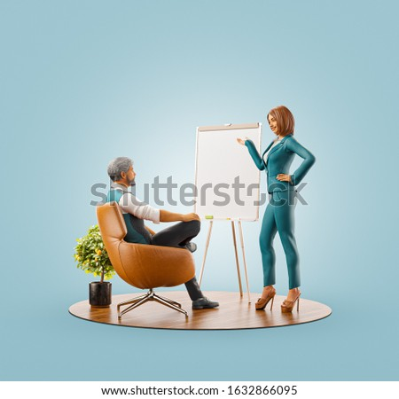 Unusual 3d illustration of a young woman standing beside an empty flipchart in front of businessman. Startup development and presentation. Business teamwork concept.