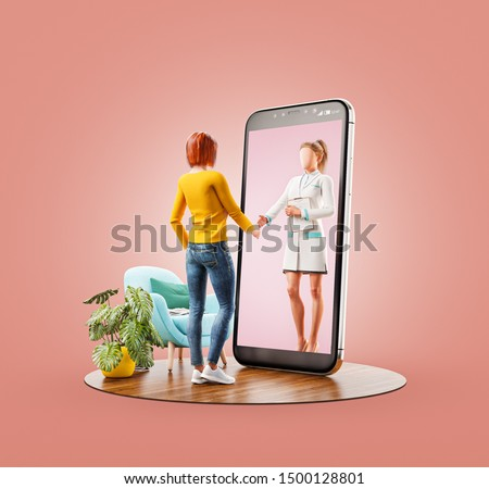 Unusual 3d illustration of a young woman standing in front of smartphone screen shaking hands with her doctor. Health care Smartphone apps. Online medical consultation and support concept.