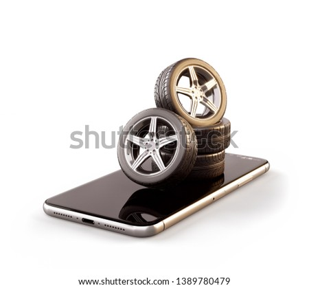 Unusual 3d illustration of car tires on a smartphone screen. Tire Size Calculator. Choosing and buying tires online concept. Isolated
