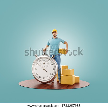 Unusual 3d illustration of Delivery man with stopwatch timer holding cardboard box. Delivery and post concept. Online shopping and Express delivery .