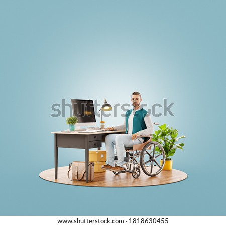 Unusual 3d illustration of Disabled person in the wheelchair works in the office at the computer. He is smiling and passionate about the workflow.
